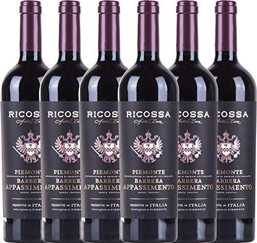 VINELLO 6er Weinpaket Rotwein - Barbera Appassimento DOC 2019 - Ricossa mit Weinausgießer | halbtrockener Rotwein | italienischer Wein aus Piemont | 6 x 0,75 Liter