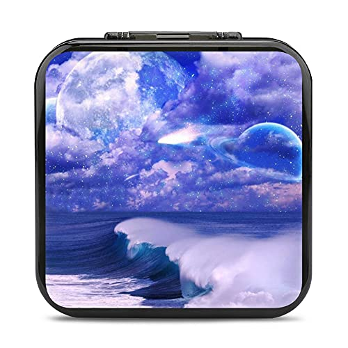 Art Pictures Space Sky Clouds Stars Planet Sea Waves Switch Game Card Case, Shockproof Slim and Portable Protective Shell Switch Storage Bag Include 24pcs Game Card Slots and 24pcs SD Card Holders for