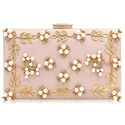 Light Pink Clutche With Pearls And Rhinestones Purse