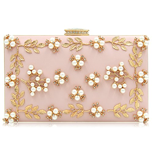 Milisente Women Clutches Pearls Evening Bag Clutch Purse Bags (Light Pink)