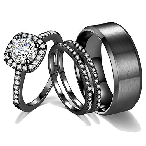 2ct 18k Black Gold Wedding Ring Sets for Women and Men Hers his Titanium Bands Stainless Steel Couple…