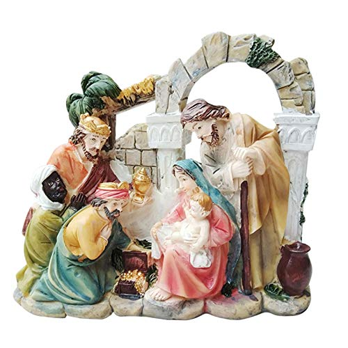 Adorno de natividad delicado, regalo de decoracin para el hogar en resina, historia de Jess, conjunto artesanal estilo esculpido, incluye