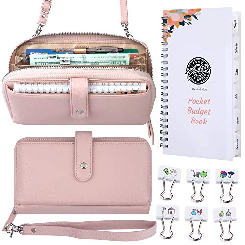 Saveyon RFID Crossbody Cash Envelope Wallet with Clips and Budget Planner Organizer - Clutch Purse Money Organizer for Cash, Cash Envelopes for Budgeting, Budget Envelopes Cash Envelope System Blush