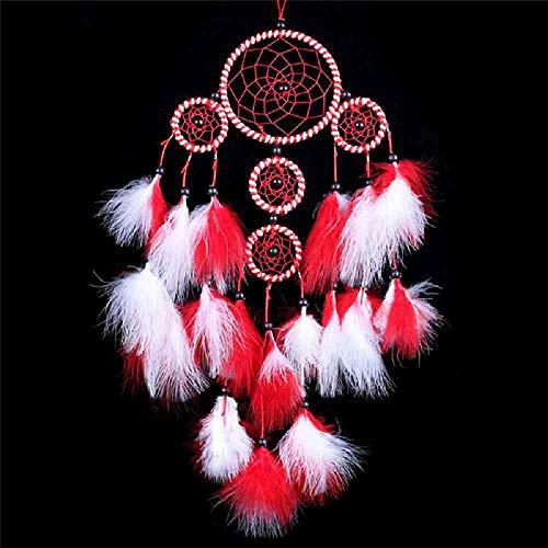 WAXY handgemaakte dromenvanger met veren auto in huis muur slaapkamer hangen decoratie ornament handwerk geschenk blauw/rood