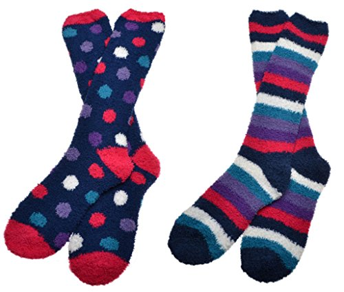 2 Paar weich und warme, flaumige Langsocken, Damen, kuschelige Socken