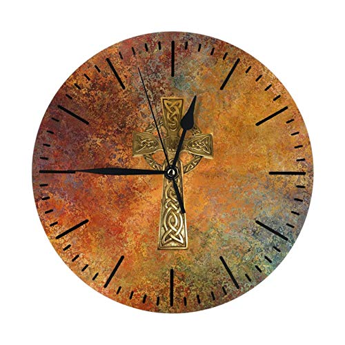 N/A/ Celtic Cross Wall Clock Silent Non Ticking 10 Inch Round Home/Office/Classroom/School Hanging Clock