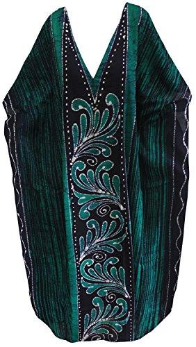 LA LEELA Donne Cotone Kaftan Tunica Batik Kimono Libero Formato Lungo Maxi Partito Caftano Vestito per Loungewear Vacanze Pigiama Spiaggia di Tutti i Giorni Coprire i Vestiti Verde_U973