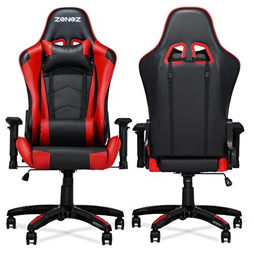 ZENEZ Gaming Stuhl Ergonomischer Gaming Sessel PC Schreibtischstuhl mit Lordosenstütze und Nackenkissen, 180° Verstellbarer Gamer Stuhl PC Gaming Chair mit PU Leder