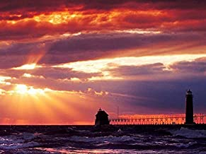 Rainbow Snail michigan grand haven south pierhead lighthouse - Oil Painting On Canvas Modern Wall Art Pictures For Home Decoration ?24 x 36 inch,Wooden Framed)