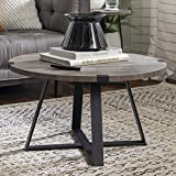 Walker Edison Furniture Rustic Farmhouse Round Metal Coffee Accent Table Living Room, 30 Inch, Grey