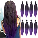 Leeven 26 Inch 8 Packs Crochet Braiding Hair Pre-Streched Braidings Hair For Women Hot Water Setting Synthetic Easy Crochet Braiding For Senegalese Twist Fashion Crochet Braidings Hair (1B/Purple#)
