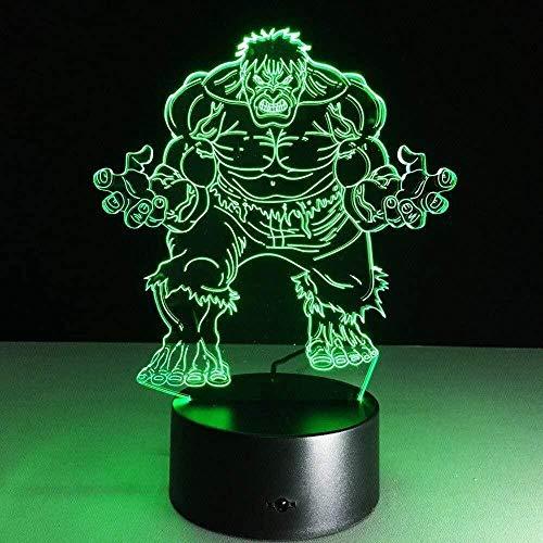 3D Luz De Noche Led LED Luz de Noche Avengers Hulk Gift Darling In The Best Birthday Holiday Gifts For Children Con interfaz USB, cambio de color colorido
