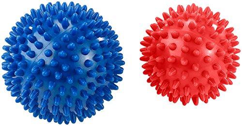 newgen medicals Igelball: 2 Massagebälle mit Noppen für Reflexzonenmassage u.v.m, Ø 9 & 7,5 cm (Stressball)