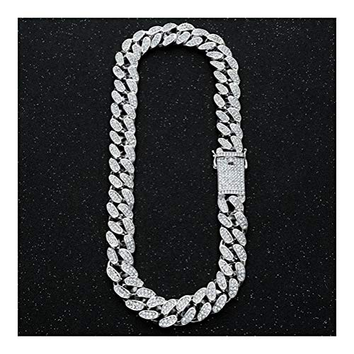 20mm Bling Link Chain Necklace Men's Gold Silver Color Rhinestone Necklaces Jewelry (Color : Silver Necklace, Size : 20inch)