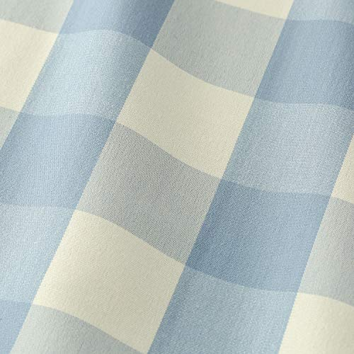 VOGOL Buffalo Check Valance for Windows, Blue and White Kitchen Garden Farmhouse Valance 18 Inch Long Rod Pocket Valance for Small Windows, One Panel