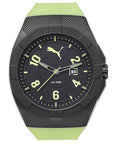 Puma Iconic - Reloj análogico de cuarzo con correa de poliuretano para hombre, color verde/negro