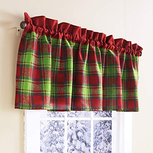 The Lakeside Collection Red and Green Plaid Window Christmas Valance - Holiday Bathroom Accent