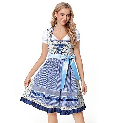 Jodimitty Damen Dirndl Kleid,3 TLG Adelstrachten Dirndl Damen Midi Set, mit Bluse und Schürze, Bayerisches Damen-Trachtenkleid Trachten...