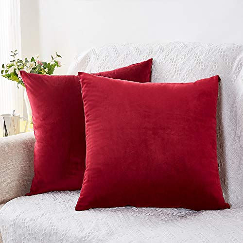Rose Home Fashion Pack of 2 Throw Pillow Covers, Velvet Pillow Covers Decorative Square Pillowcase Cushion Cover for Sofa Couch, Burgundy Throw Pillow Covers, 18 x 18 Inch, Burgundy
