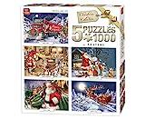 King 5219de Noël 5en 1Puzzles–5x Puzzle 1000pièces, 68x 49cm, Posters Inclus