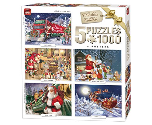 King 5219 Weihnachten 5 in 1 Puzzle, 5 x 1000 Teile Puzzle, 68 x 49 cm, inklusive Poster