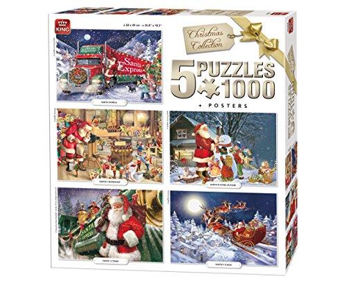 King 5219 - Puzzles de Navidad 5 en 1, 5 puzzles de 1000 piezas, 68 x 49 cm, pósteres incluidos. , color/modelo surtido