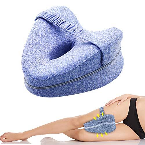 Kniekissen Seitenschläfer Leg Pillow Komfort - Kniekissen zum Schlafen Memory Schaum Orthopädisches Beinkissen Bietet Linderung bei Schmerzen bei Ischias Rücken Hüften Gelenken 25x23x13cm (Blau)