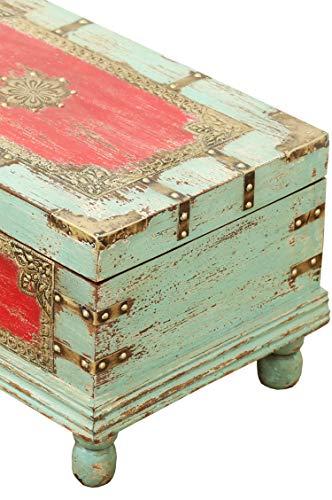 Orientalische Truhe Kiste aus Holz Arjuna Rot - 47cm groß | Vintage Sitzbank mit Aufbewahrung für den Flur | Aufbewahrungsbox mit Deckel im Bad | Betttruhe als Kissenbox oder Deko im Schlafzimmer - 5