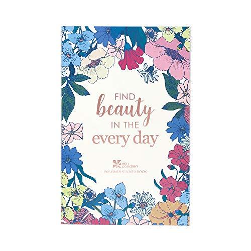 Erin Condren Flower Power Stickerbuch – 12 Stickerbögen (insgesamt 529 Aufkleber) – Flower Power Design Thema, Folio Friendly Größe 12,7 x 19,7 cm – Washi Tape, Sammlung von Metallics Zitaten