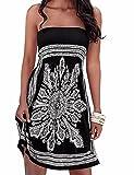 Verano sin tirantes de hombro mujer bohemia falda casual estampado floral colorido mini vestidos de playa,EMMA(BL,XL)