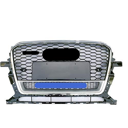 51OrGTo5MCL - LSJGG Fit for RSQ5 Stil Vorder Sport Sechseckgitter Honeycomb Hood Grill Schwarz gepasst Fit for Audi Q5 / SQ5 8R 2013 2014 2015 2016 2017 Auto-Zubehör Zubehör (Color : Chrome Emblem)