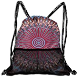 Drawstring Bundle Bags Gym Fitness Backpacks for Men Women Boys Girls Sports Hiking Cycling Camping, Gules Ethnic Arabesque Background,16.5