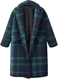 Womens Woolen Coat Winter Plaid Lapel Trench Straight Jacket Long Parka Overcoat