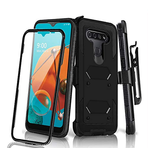 HONTECH Holster Phone Case for LG K51, LG Q51 / LG Reflect (TracFone) Case with Swivel Belt Clip, Built-in Screen Protector Heavy Duty Full Body Protection Shockproof Kickstand Cover 6.5 inch, Black