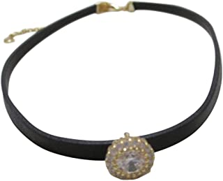 CZ BY Kenneth Jay Lane 2CTTW Round CZ Pave Station Gold Plated Leather Choker Necklace