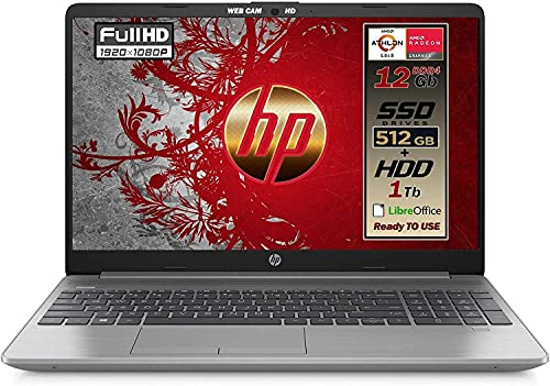 HP 255 G8 Silver Notebook Portatile, SSD M2 512GB + 1TB, Display FullHD 15.6 , Amd A9 Gold 3150U fino a 3,3 GHz, 12GB DDR4, Libre Office, Wi-fi, 3 usb, webcam HD, Win10 Pro, Pronto All uso, Gar. ITA