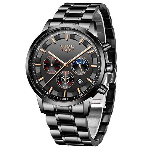 LIGE Herren Uhren Wasserdichtes Edelstahl Chronograph Sport Analog Quarzuhr Männer Business Blau Männer Armbanduhr Kalender…