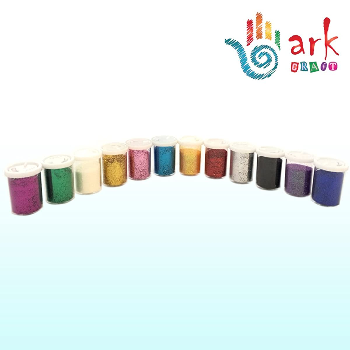 arkCRAFT MIT6H2412 Extra Fine Glitter Shakers, Scrapbooking, Card and Decoration Making-Arts & Crafts Supplies (Set of 12 Assorted Colours) by Ark Craft
