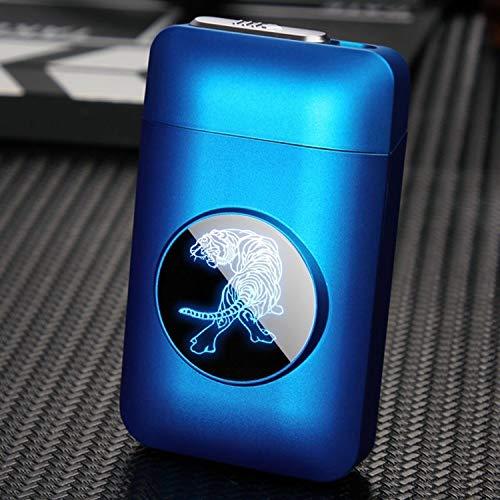 LED Grafik-Zigaretten-Etui & Feuerzeug Zigaretten-Halter Elektro Kreative Plasma Arc USB Feuerzeug und Zigarettenschachtel (Blue Tiger)