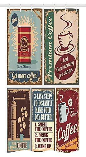 FANCYDAY 1950er Stall Duschvorhang, Kaffeeposter und Blechschilder Künstlerisches Design Bohnen Tasse Dose Espressotasse Cappuccino Logo,