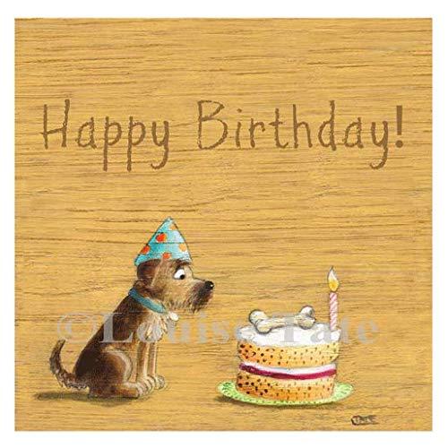 Louise Tate Illustratie Hond en Cake Gelukkige Verjaardagskaart, 145 x 145 mm