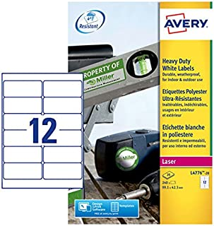 Avery L4776-20 Extra-Strong Adhesive Heavy Duty Weatherproof Labels,White,12 Labels Per A4 Sheet