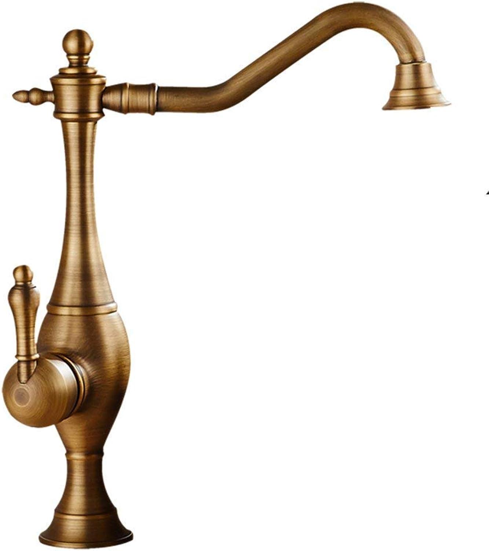 Antique Brass High Basin Sink Mischbatterie Traditionelle Einhebel-Badarmaturen Badewasserhahn Mit 360-Grad-Schwenkauslauf