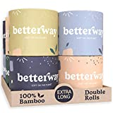 Betterway Bamboo Toilet Paper 3 PLY - Eco Friendly, Organic, Sustainable Toilet Tissue - Plastic Free & Compostable - Septic Safe & Biodegradable - 12 Double Rolls - 360 Sheets/Roll - FSC Certified