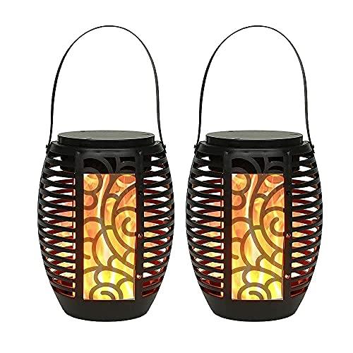 JHY DESIGN 2 Pack 16.5cm Hoch Hängend Lamp ,mit Griff Batteriebetrieben Tischlampe dekoration Vintage Gartenlaterne mit Glasscheiben,für Outdoor Wohnzimmer Garten Balkon Innen Indoor Draußen(Schwarz)