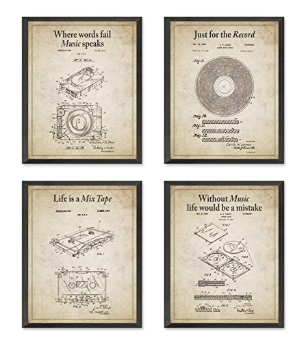 Retro Music Wall Art Prints with Slogans, Set of 4, Unframed, Vintage 8 Track, Tape Cassette, Record, Cd Patent Gift, All Sizes