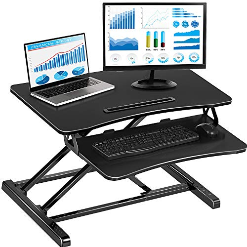 Standing Desk with Height Adjustable, 32 Inch Stand Up Desk Converter, Quick Sit to Stand Ergonomic Tabletop Workstation Riser, Black