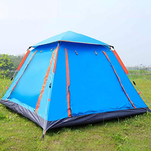 4-5 Person Open Tent Outdoor Camping Hiking Automatic Season Tents Speed Open, Ideal for Garden Beach Family Camping and Hiking,Blue