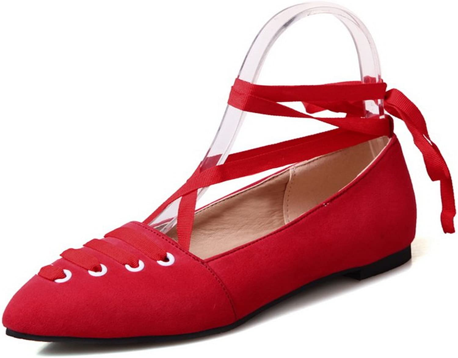 BalaMasa Ladies Lace-up Pointed-Toe Solid Suede Mary-Jane-Flats
