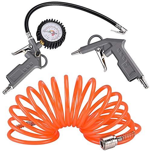 """Kit di accessori da 3 pezzi per compressore aria compressa con Doppia Pistola di soffiaggio manometro e Tubo a spirale da 5 m con bloccacavo Raccordo rapido da 1/4\"""""""